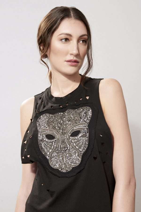 Cotton tank top, sequined embroidery