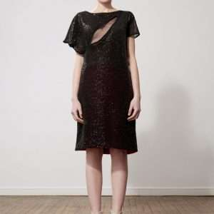 Lace and sequins dress, silk lining