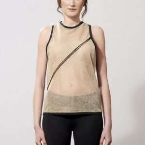 Knitted and linen tank top, cotton details