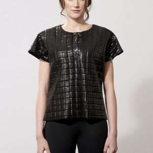 Neoprene and metallic fabric t-shirt, snaps