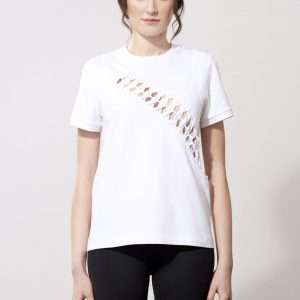 Cotton t-shirt, cutting and braiding details