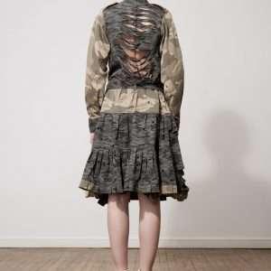 Printed cotton dress, belt,metal label, leather details