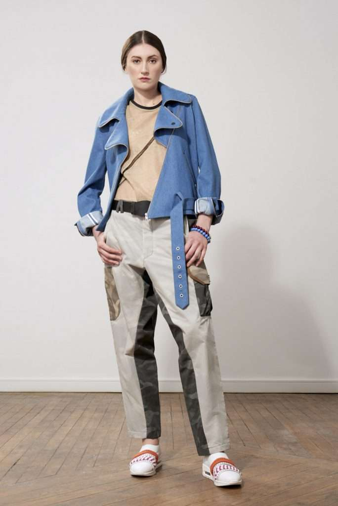 Printed cotton pants, pockets, leather details