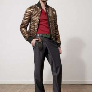 Lace and reflective nylon bomber jacket, neoprene details
