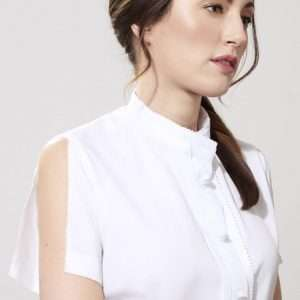 Cotton unraveled short sleeves shirt, stand-up collar, fabric buttons