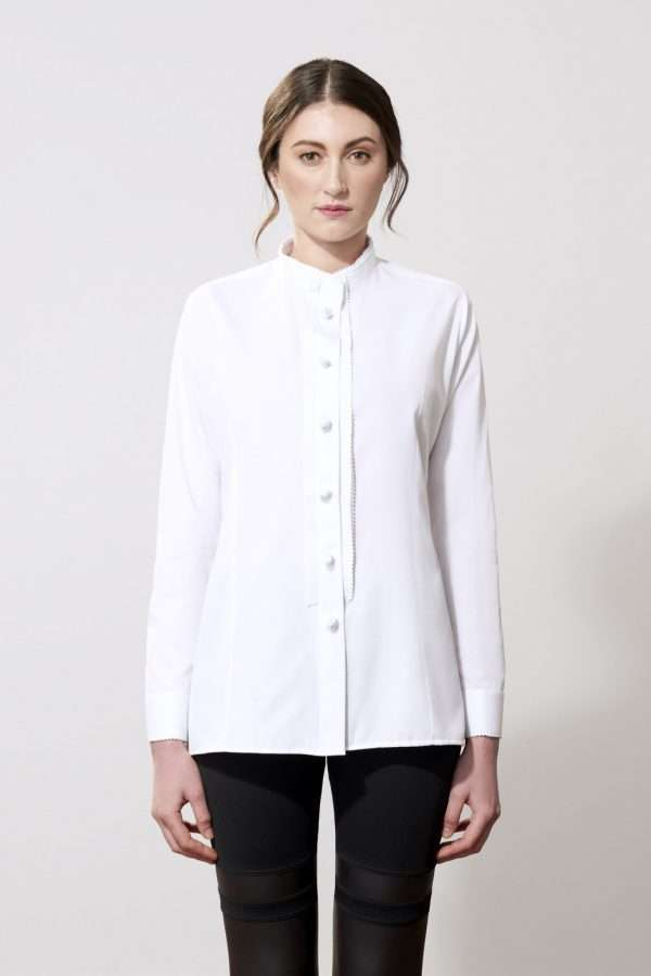 Cotton long sleeves shirt, stand-up collar, fabric buttons