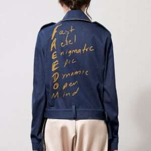 Denim twist jacket, belt, digonal zipper, printed details