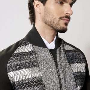 Neoprene and wool bomber jacket, silk lining