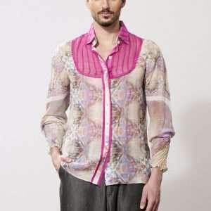 Printed silk long sleeves shirt